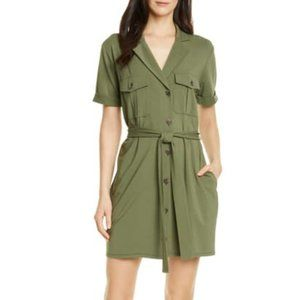 Joie NEW olive green shirt dress belted sz small